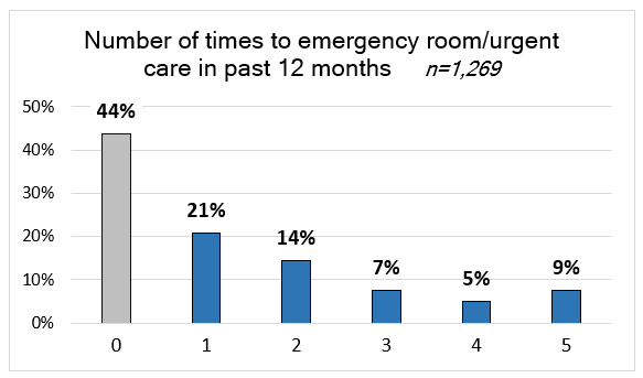 Bar chart: Number of times to emergency room/urgent care in past 12 months. 44% 0 times, 21% 1 time, 14% 2 times.