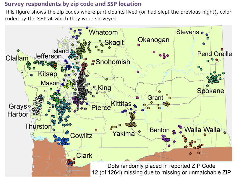 Survey respondents by zip code and ssp location (map with dots showing locations)