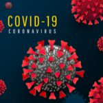 Viral particles with words COVID-19 coronavirus