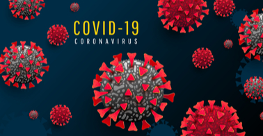 Multiple virus particles with words COVID-19 coronavirus