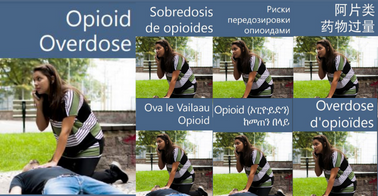 Cover of the Opioid Overdose brochure showing several of the available languages