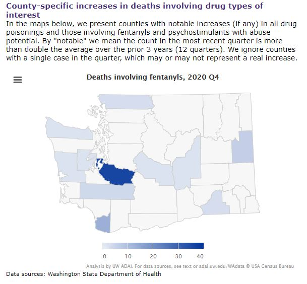 Map of WA counties showing 11 with notable increases in deaths from fentanyls in Q4 2020: Pierce Clark, Spokane, Walla Walla, Grant, Kittitas, Whatcom, Clallam, Mason, Grays Harbor, Lewis